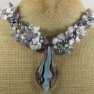 MURANO GLASS LAMPWORK JADE OPALITE FLUORITE NECKLACE