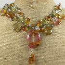 TIGER QUARTZ & MULTI CRYSTAL NECKLACE