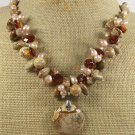 PICTURE JASPER YELLOW CRYSTAL FW PEARLS NECKLACE