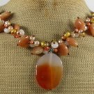 ORANGE AGATE HONEY JADE WHITE JADE PEARLS NECKLACE