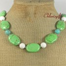 BLUE GREEN TURQUOISE & WHITE CORAL NECKLACE