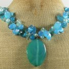 BLUE AGATE & JADE & CAT EYE & CRYSTAL PEARLS NECKLACE
