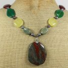 CHUNKY FANCY JASPER JADE AGATE RHYOLITE NECKLACE