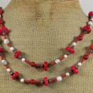 LONG! 40 RED CORAL WHITE TURQUOISE NECKLACE