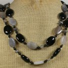 LONG! 40 BLACK AGATE & GREY AGATE NECKLACE
