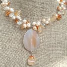ORANGE AGATE & CLEAR CRYSTAL & FW PEARL NECKLACE
