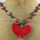 RED CINNABAR BUTTERFLY & AFRICAN TURQUOISE NECKLACE