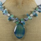 BLUE AGATE & WHITE GREEN JADE & CAT EYE PEARLS NECKLACE