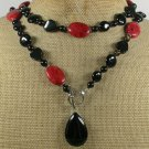 LONG! 40 BLACK AGATE & RED CORAL NECKLACE