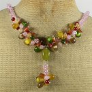 RED CARNELIAN PINK YELLOW JADE CAT EYE CRYSTAL NECKLACE