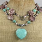 LONG! 40 TURQUOISE MUGER JASPER PEARLS NECKLACE