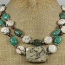 SESAME JASPER & TURQUOISE 2ROW NECKLACE