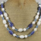 WHITE BLUE JADE AGATE PEARLS 2ROW NECKLACE