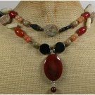 RED BLACK AGATE YELLOW HONEY JADE JASPER 2ROW NECKLACE