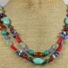 TURQUOISE CITRINE CARNELIAN CORAL AGATE 2ROW NECKLACE