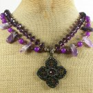 COPPER CRYSTAL PENDANT & AMETHYST & JADE 2ROW NECKLACE