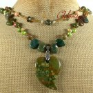 RHYOLITE UNAKITE FANCY JASPER PEARLS 2ROW NECKLACE