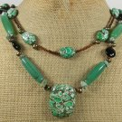 GREEN AFRICAN TURQUOISE AGATE PEARLS 2ROW NECKLACE