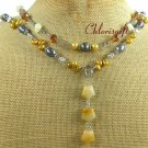 YELLOW JADE & CRYSTAL & FRESH WATER PEARL 3ROW NECKLACE