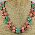 TURQUOISE PINK CORAL FLOWER CLOISONNE 2ROW NECKLACE