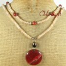 RED JASPER & FRESH WATER PEARLS 2ROW NECKLACE
