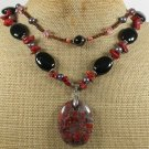 BACCIATED JASPER & BLACK AGATE & CRYSTAL 2ROW NECKLACE