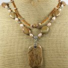 PICTURE JASPER & WOOD JASPER & PEARLS 2ROW NECKLACE