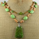 GREEN TURQUOISE & AUTUMN JADE & PEARLS 2ROW NECKLACE