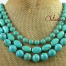 BLUE TURQUOISE 3ROW NECKLACE