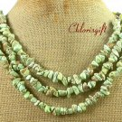 GREEN TURQUOISE BUTTER JADE PICTURE JASPE 3ROW NECKLACE