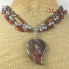 OCEAN JASPER RED AGATE COFFEE JASPER 3ROW NECKLACE