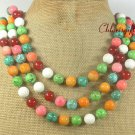 TURQUOISE CORAL RED CARNELIAN 3ROW NECKLACE