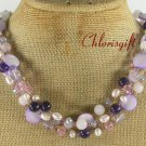 PURPLE JADE QUARTZ MOP CRYSTAL PEARLS 3ROW NECKLACE