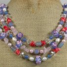 FLOWER LAMPWORK BLUE AGATE CORAL QUARTZ 3ROW NECKLACE