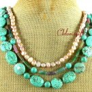 TURQUOISE FANCY JASPER FW PEARL 3ROW NECKLACE