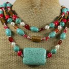 TURQUOISE TIGER EYE RED CORAL AGATE PEARL 3ROW NECKLACE