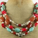 TURQUOISE AGATE CORAL JASPER HONEY JADE 3ROW NECKLACE