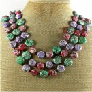 MULTI AFRICAN TURQUOISE 3ROW NECKLACE