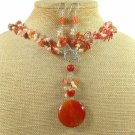RED AGATE & FRESH WATER PEARLS NECKLACE/EARRINGS SET