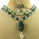 KAMBABA JASPER GREEN AGATE PEARL NECKLACE/EARRINGS SET