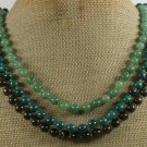 AFRICAN TURQUOISE GREEN JADE LABORADITE 3ROW NECKLACE