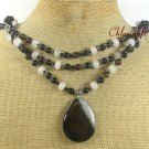 BLACK AGATE & WHITE JADE 3ROW NECKLACE