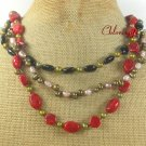 RED CORAL BLACK AGATE FW PEARL 3ROW NECKLACE