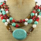 TURQUOISE AGATE TIGER EYE CORAL PEARLS 3ROW NECKLACE
