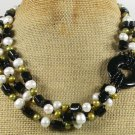 BLACK AGATE & FRESH WATER PEARLS 3ROW NECKLACE