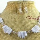 LACE AGATE & CRYSTAL NECKLACE/EARRINGS SET