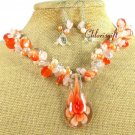 FLOWER LAMPWORK QUARTZ CAT EYE NECKLACE/EARRINGS SET