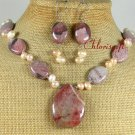 RED BROWN PICTURE JASPER PEARLS NECKLACE/EARRINGS SET