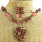 BACCIATED JASPER CHERRY QUARTZ NECKLACE/EARRINGS SET