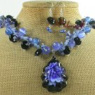 FLOWER LAMPWORK SODALITE JADE NECKLACE/EARRINGS SET